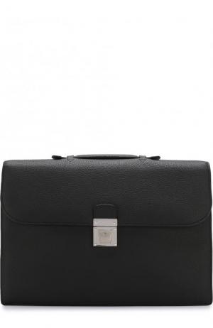 Кожаный портфель с клапаном Serapian. Цвет: черный