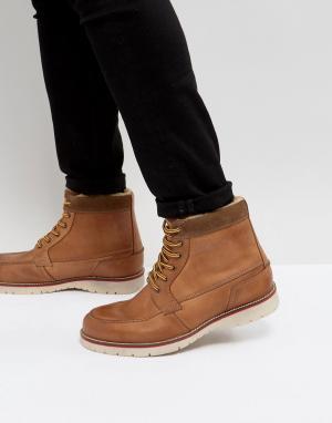 Pier One Светло-коричневые кожаные ботинки на теплой подкладке. Цвет: рыжий