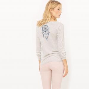 Пуловер из тонкого трикотажа с рисунком сзади SUD EXPRESS. Цвет: экрю меланж