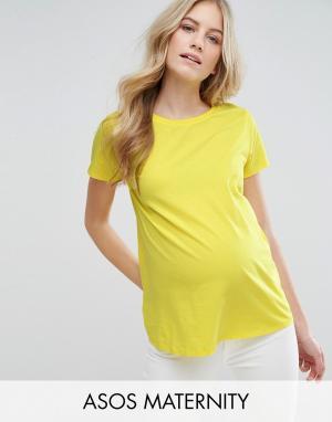 ASOS Maternity Футболка для беременных с круглым вырезом. Цвет: желтый