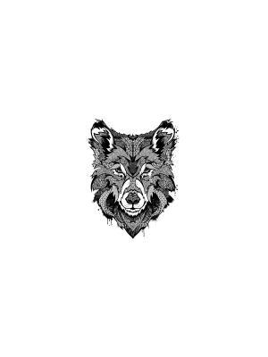 Временное тату Пестрый волк МнеТату. Цвет: черный