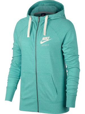 Толстовка W NSW GYM VNTG HOODIE FZ Nike. Цвет: светло-зеленый