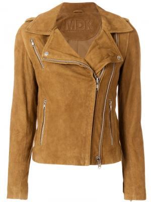 Байкерская куртка с молниями Munderingskompagniet. Цвет: коричневый