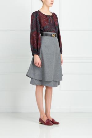 Шерстяная юбка Vika Gazinskaya. Цвет: серый