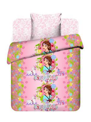 Комплект постельного белья Последний богатырь из бязи 1,5 спальный Василек. Цвет: розовый