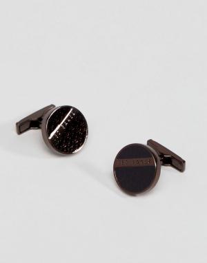 Ted Baker Запонки с эмалью коричневого цвета. Цвет: коричневый
