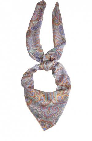 Шелковый платок с принтом Michele Binda. Цвет: бежевый