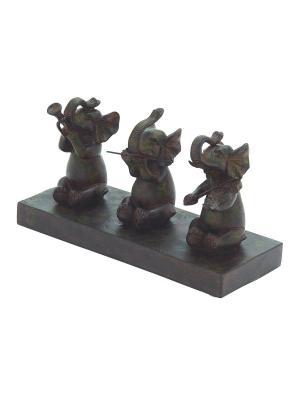 Дизайнерская скульптура Слоны-музыканты, 17*30см UMA. Цвет: темно-коричневый