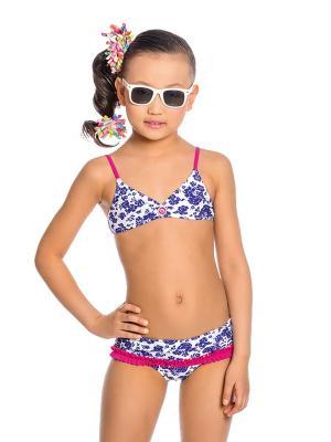 Купальник для девочек Arina. Цвет: синий,белый