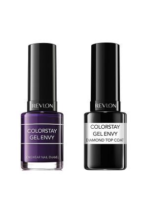 Revlon Набор: 007 гель-лак colorstay gel envy high roller 450 + верхнее покрытие. Цвет: фиолетовый