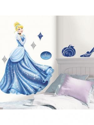 Наклейки для декора Дисней: Принцессы- Золушка ROOMMATES. Цвет: белый, голубой, желтый, зеленый, красный, оранжевый, серый, синий, черный