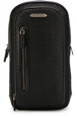 Текстильный рюкзак на одно плечо Z Zegna. Цвет: черный