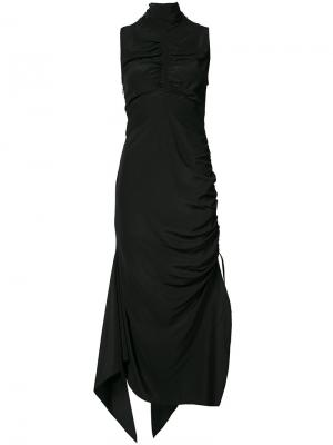 Платье с присборенной отделкой Solace London. Цвет: чёрный