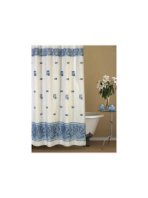Штора для ванной комнаты 178х180см. Афина голубая NIKLEN. Цвет: голубой