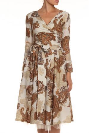 Платье-миди NATALIA PICARIELLO. Цвет: бежевый