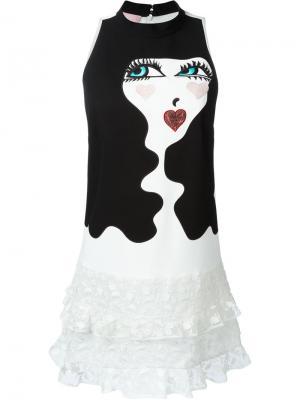 Мини-платье с заплаткой в виде лица Giamba. Цвет: чёрный
