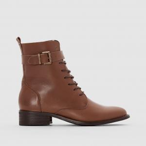 Ботильоны кожаные на шнуровке R essentiel. Цвет: каштановый,черный