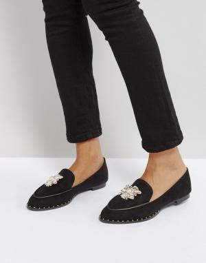QUPID Туфли на плоской подошве с отделкой камнями. Цвет: черный