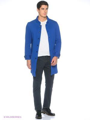 Пальто трикотажное Пряник. Цвет: синий