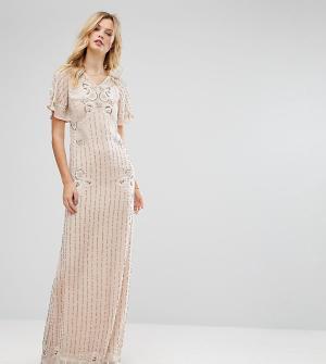 Frock and Frill Tall Платье макси с расклешенными рукавами. Цвет: розовый