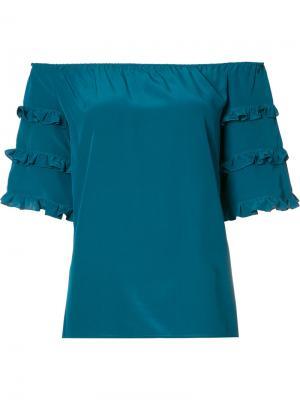 Off the shoulder frill sleeve top Vanessa Seward. Цвет: зелёный