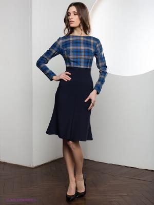 Платье SUGARLIFE. Цвет: темно-синий, синий, коричневый
