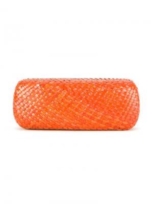 Straw sunglass case Serpui. Цвет: жёлтый и оранжевый