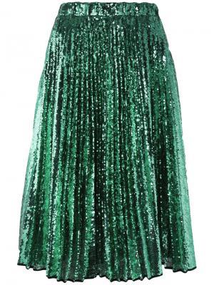 Плиссированная юбка с пайетками Nº21. Цвет: зелёный