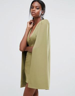 Lavish Alice Платье мини с кейпом и разрезом сзади. Цвет: зеленый