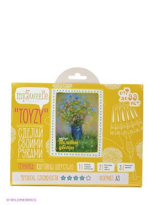 Набор - Toyzy Полевые цветы Картина шерстью TZ-P005 КОНТЭНТ. Цвет: белый