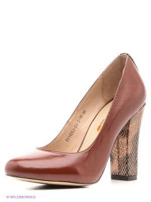 Туфли EVITA. Цвет: коричневый, золотистый
