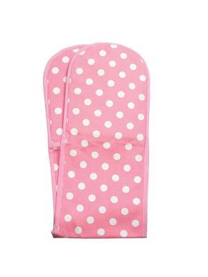 Двойная прихватка  розовая в белый горошек - Фламенко Dexam. Цвет: розовый, белый