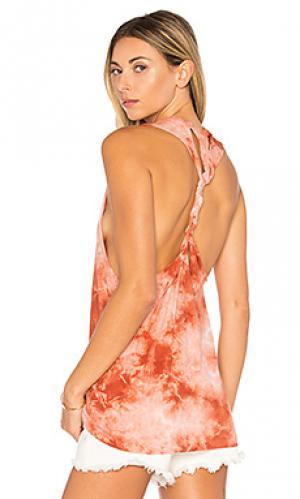 Майка с плетеными шлейками LA Made. Цвет: тёмно-оранжевый