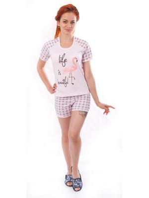 Пижама (футболка,шорты) Валерия 37. Цвет: светло-коричневый, бледно-розовый