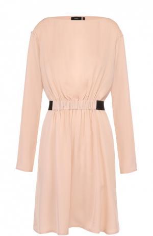 Шелковое мини-платье с контрастным поясом Theory. Цвет: розовый