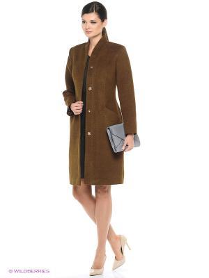 Пальто Amulet. Цвет: коричневый