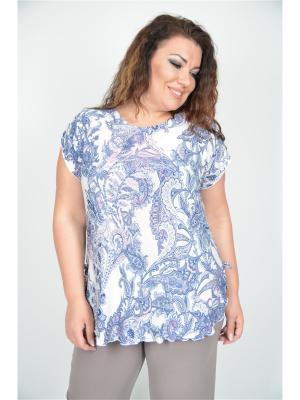 Блузка Полное счастье. Цвет: фиолетовый, белый
