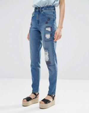 Waven Джинсы в винтажном стиле с рваной отделкой и заплатками Elsa. Цвет: синий