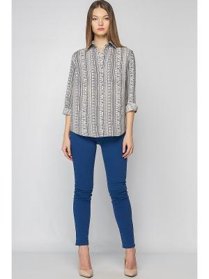 Рубашка Limonti. Цвет: синий, бежевый