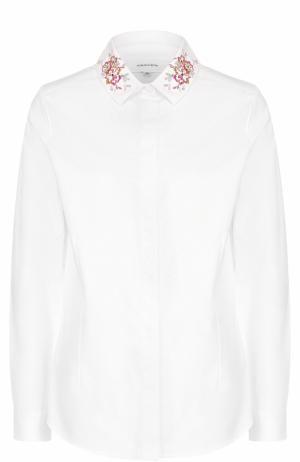 Хлопковая блуза прямого кроя с вышивкой Carven. Цвет: белый