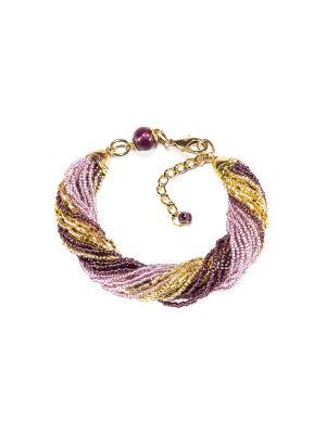 Браслет бисерный Bottega Murano. Цвет: фиолетовый, розовый, золотистый