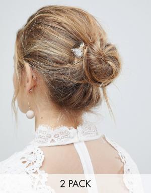 ASOS Комплект невесты из 2 белых заколок для волос DESIGN. Цвет: белый