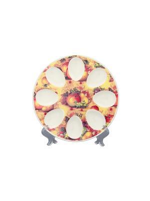 Тарелка для фаршированных яиц Натюрморт Elan Gallery. Цвет: желтый, зеленый, бордовый, коричневый