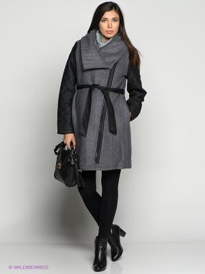 Пальто Mama Licious. Цвет: серый, черный