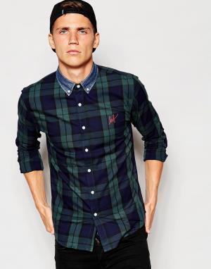 Huf Рубашка в клетку с джинсовым воротником
