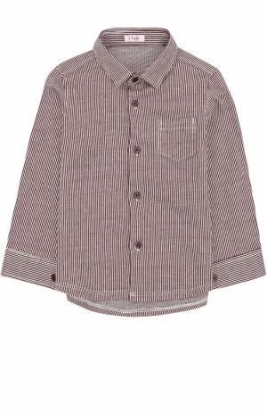 Хлопковая рубашка в полоску Il Gufo. Цвет: бордовый