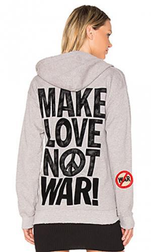 Худи make love not war Madeworn. Цвет: серый