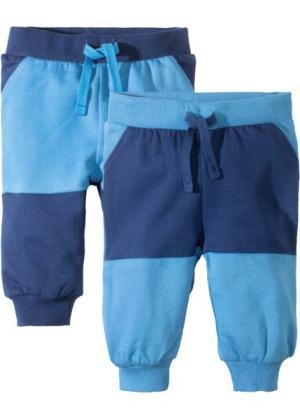 Для малышей: трикотажные брюки из органического хлопка (2 шт.) (синий) bonprix. Цвет: синий