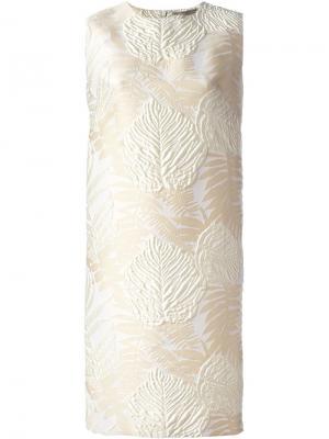 Платье шифт из парчи Ermanno Scervino. Цвет: телесный
