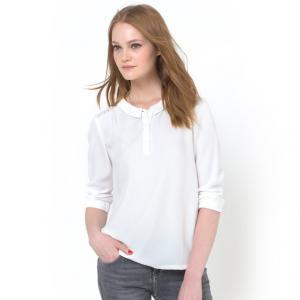 Блузка с отложным воротником COLOR BLOCK. Цвет: экрю